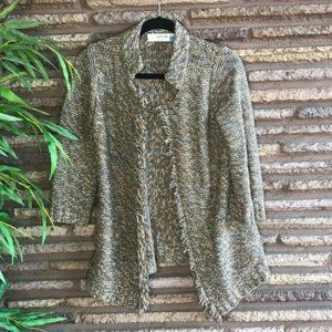 Anthropologie Sparrow Oatmeal Marl Fringed Sweater